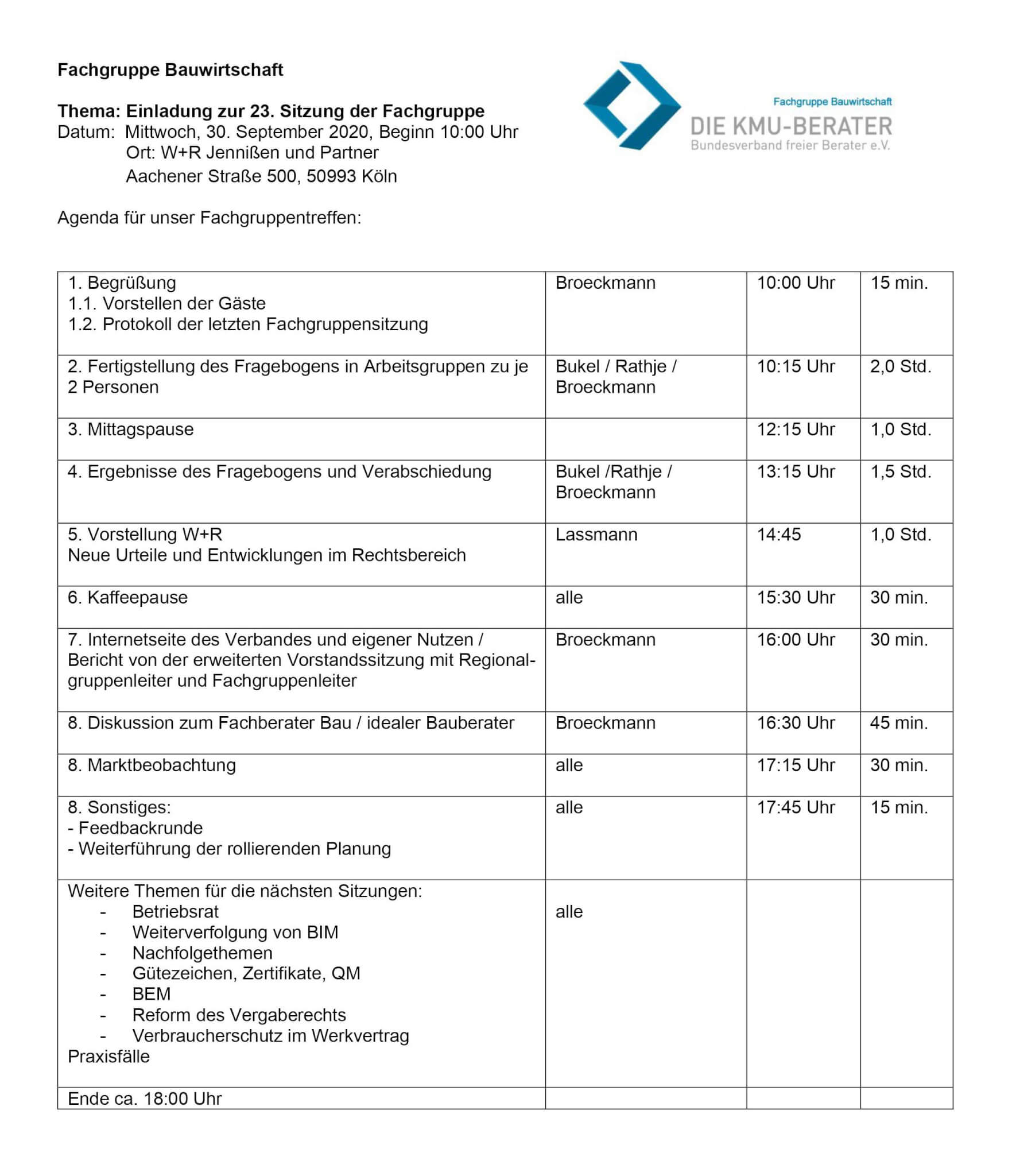 Agenda 23. Tagung der Fachgruppe Bauwirtschaft