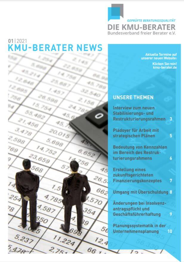 Titelblatt KMU-Berater News 1/2021 Thema Sanierung